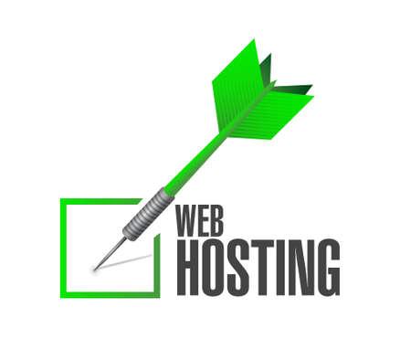 internet mark: Web hosting check dart sign concept illustration graphic design