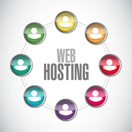Web hosting people network sign concept illustration graphic design