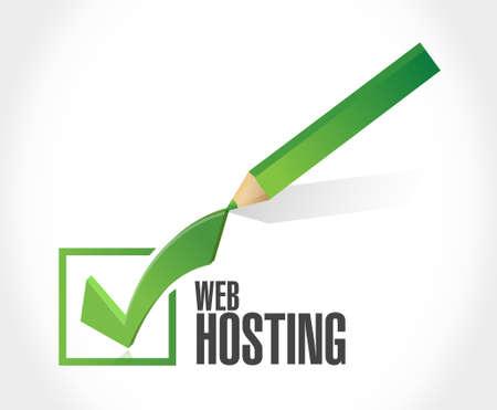 building site: Web hosting check mark sign concept illustration graphic design