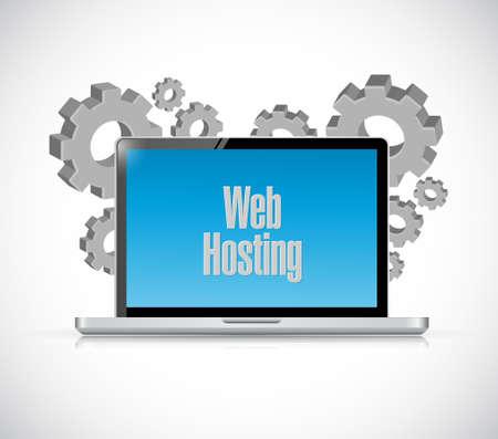building site: Web hosting laptop computer sign concept illustration graphic design