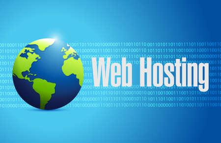 Web hosting international binary concept illustration graphic design