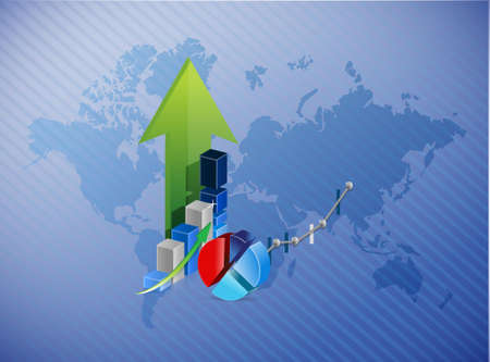 world map business profits illustration design background