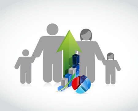 Family business profits concept illustration design. Illustration