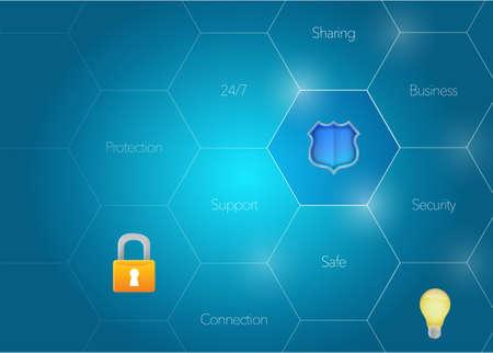 Diagramma di sicurezza concetto illustrazione grafica su uno sfondo blu Archivio Fotografico - 74102749