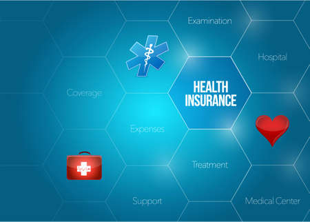 reimbursement: health insurance diagram concept illustration design graphic over a blue background Illustration