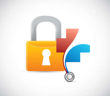 Health lock security concept. illustration design isolated over white Illustration