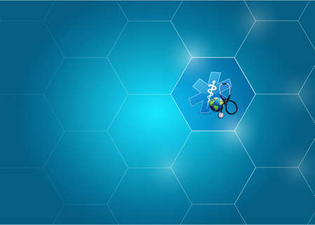 Medical symbol and dna diagram network of shapes over a blue background