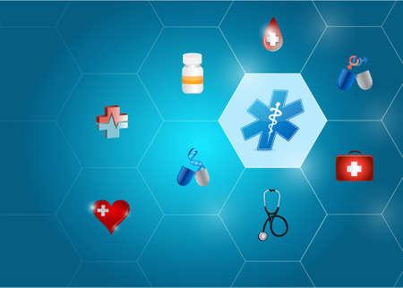 doctor exam: Medical symbol diagram network of shapes over a blue background