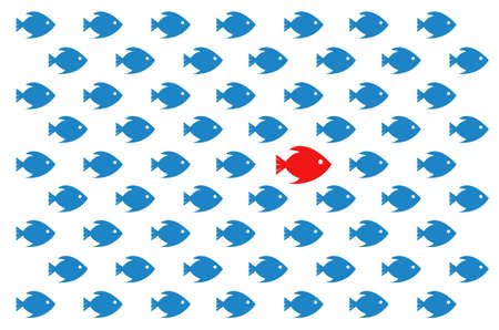 Follow the leader. Pattern diagram concept illustration. Design over a white background