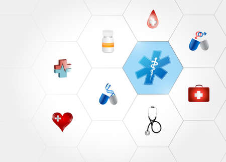 Medical symbol diagram network of shapes over a white background