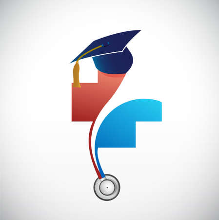 doctorate: Medical field graduation concept illustration design isolated over white Illustration