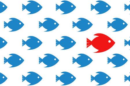 Volg de leider. vis close-up concept illustratie. ontwerp op een witte achtergrond