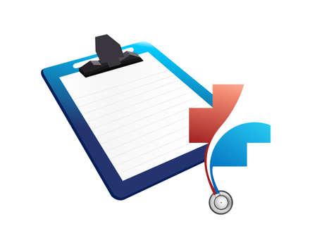emergencia: Portapapeles del gráfico médico. Ilustración de diseño aislado más de blanco