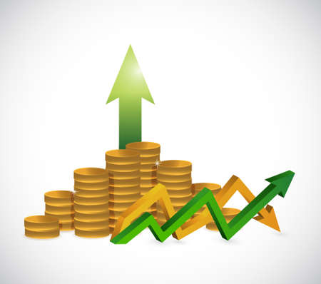 profits up and down arrow graph isolated illustration design Illustration