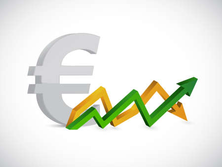Euro profits. up and down arrow graph isolated illustration design