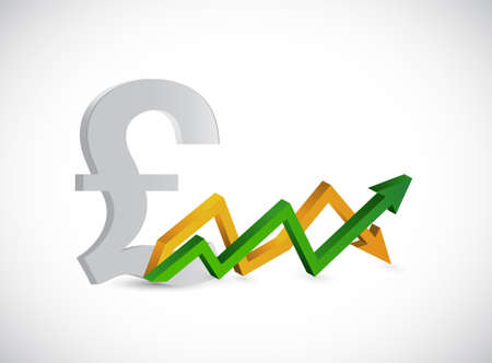 predict: Pound profits. up and down arrow graph isolated illustration design