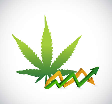 marijuana rocking profits business graph concept isolated illustration design