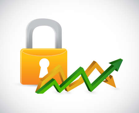 lock up and down arrow graph isolated illustration design
