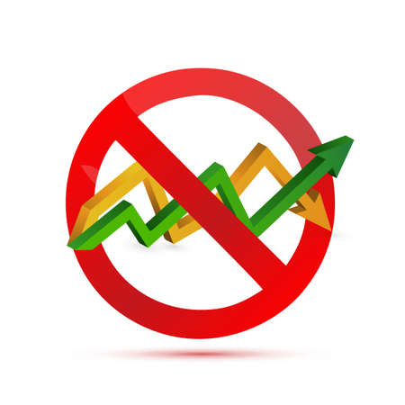 predict: negative sign over an up and down arrow graph isolated illustration design Illustration