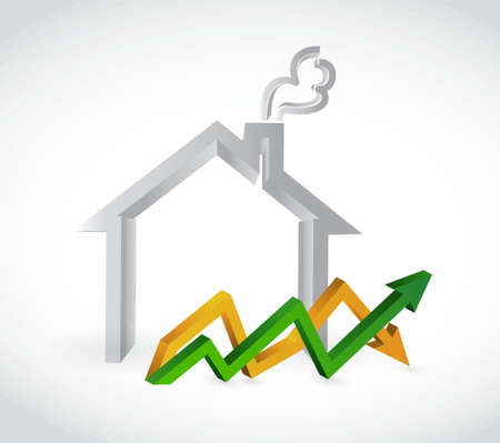 home profits up and down arrow business graph isolated illustration design Illustration