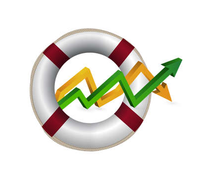 lifebuoy. up and down arrow graph isolated illustration design Illustration