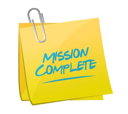 mission complete memo post sign concept illustration design graphic over white