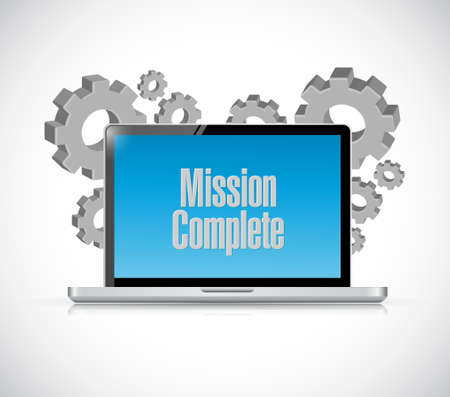 accomplish: mission complete computer sign concept illustration design graphic over white