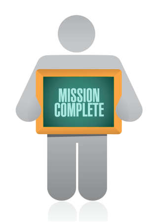 accomplish: mission complete people sign concept illustration design graphic over white