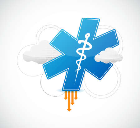 medical symbol and binary clouds illustration design over white