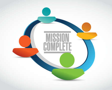 mission complete people network sign concept illustration design graphic over white Illustration
