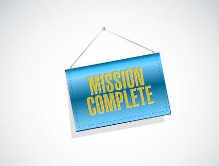 accomplish: mission complete hanging sign sign concept illustration design graphic over white