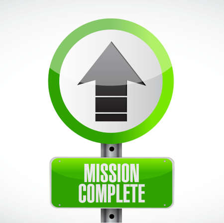 mission complete road sign concept illustration design graphic over white