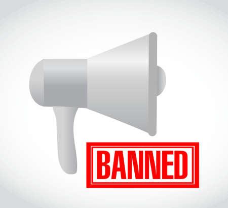 banned stamp over loudspeaker. illustration design graphic over white
