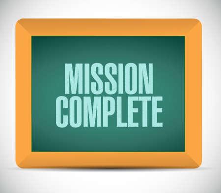 accomplish: mission complete chalkboard sign concept illustration design graphic over white Illustration