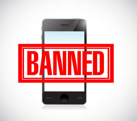 banned stamp over a phone. illustration design graphic over white