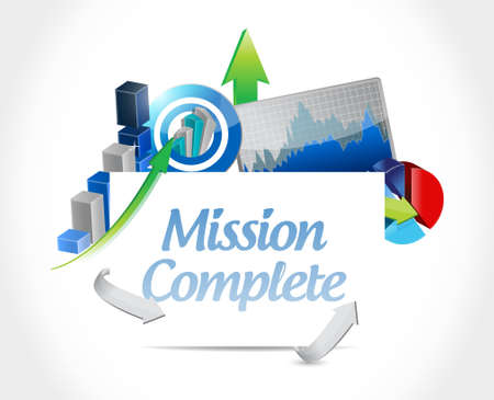 goal achievement: mission complete business sign concept illustration design graphic over white