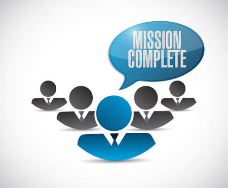 accomplish: mission complete teamwork sign concept illustration design graphic over white
