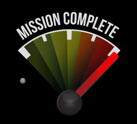 mission complete speedometer sign concept illustration design graphic over white
