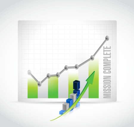 accomplish: mission complete business graph sign concept illustration design graphic over white Illustration