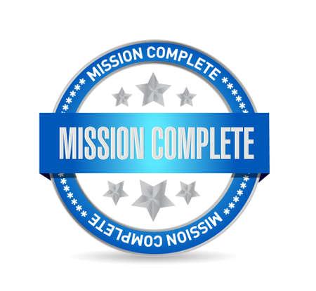 stamp design: mission complete stamp sign concept illustration design graphic over white Illustration
