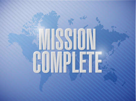 mission complete world map sign concept illustration design graphic over white