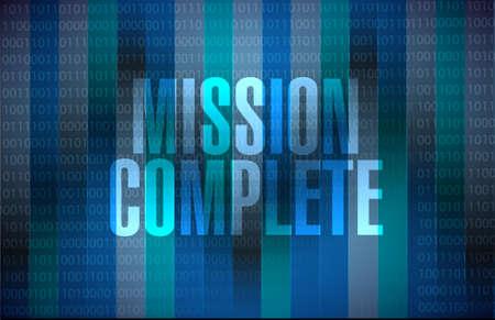 accomplish: mission complete binary sign concept illustration design graphic over white