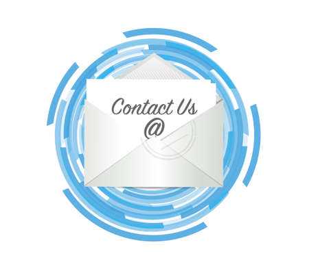 contact us mail over a tech color cycle illustration design over white