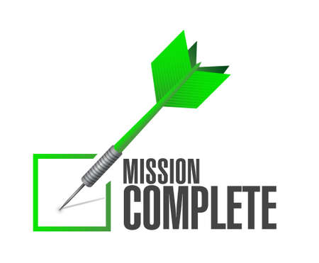 intentions: mission complete check dart sign concept illustration design graphic over white