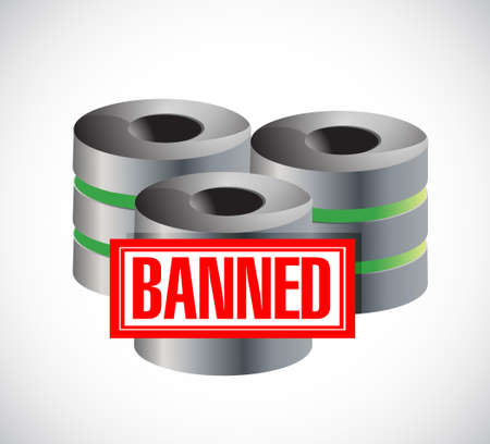 banned stamp over servers. illustration design graphic over white Illustration