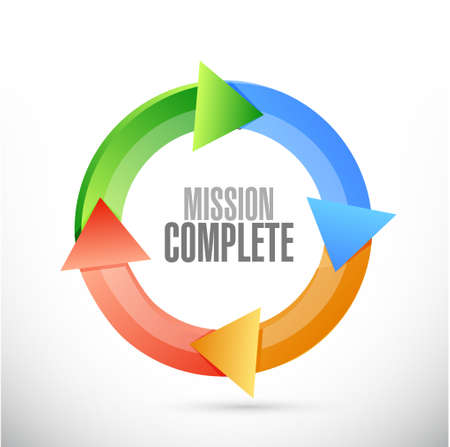 mission complete cycle sign concept illustration design graphic over white