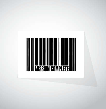 accomplish: mission complete barcode sign concept illustration design graphic over white