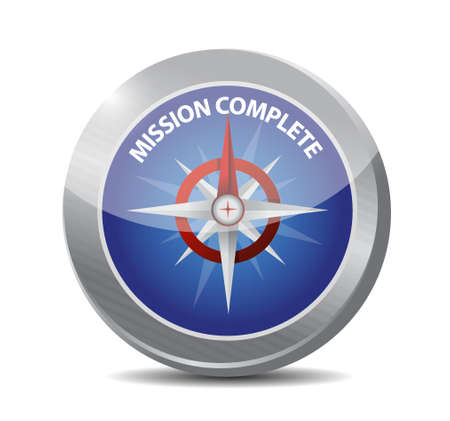 accomplish: mission complete compass sign concept illustration design graphic over white
