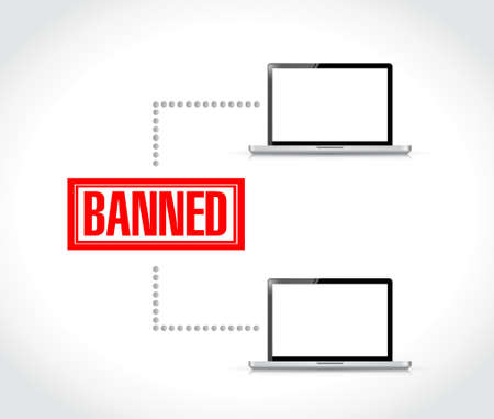 banned stamp over computer network. illustration design graphic over white
