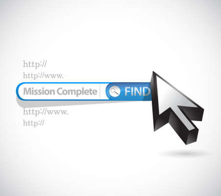 intentions: mission complete search bar sign concept illustration design graphic over white